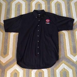 Men's button down black shirt with NASCAR logo.